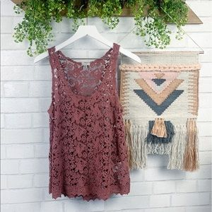 Urban Outfitters Ecote Boho Blush Lace Tank Top